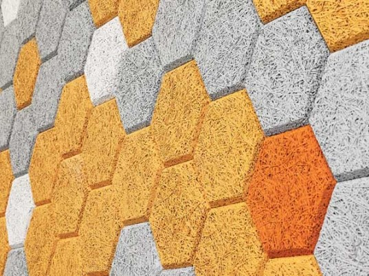 "Colorful Hexagonal Wall Tiles Made From Sound-Absorbing ""Wood Wool"""