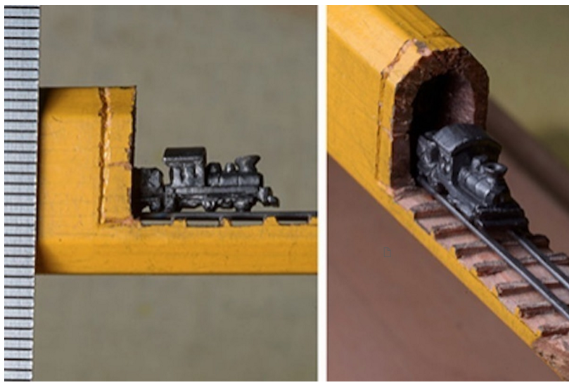 Artist Carves Incredibly Detailed Train Out Of Carpenter Pencil